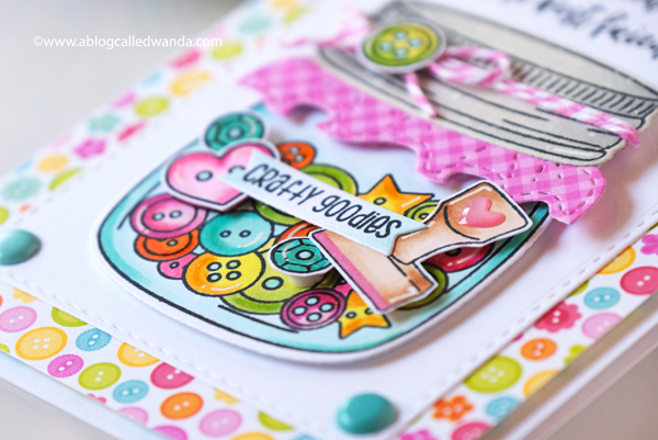 jaded blossom, jaded blossom stamps, mason jar stamps, mason jar die, add ons, crafty card ideas, mason jar cards, lawn fawn quilted background, copics, doodlebug cute and crafty paper, buttons, strawberries, crafty friends cards, card ideas, card layouts, wanda guess, a blog called wanda