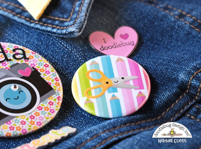 we r memory keepers button press, button maker, pin maker, diy, crafts, doodlebug blog, doodlebug cute and crafty collection, make your own flair, make your own buttons, paper, stickers, handmade, buttons for scrapbooking, cards, craft ideas, wanda guess, a blog called wanda, doodlebug design paper