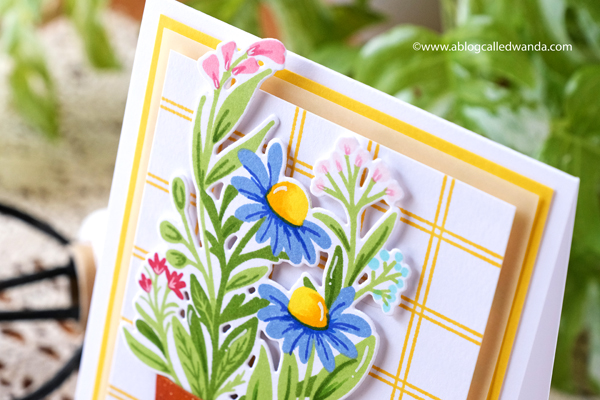 the greetery, the greetery stamps and dies, the greetery container garden, the greetery pretty pot, the greetery windowpane plaid, pretext sentiments, floral card, handmade cards, stamping, card layout ideas, the greetery design team, wanda guess, a blog called wanda