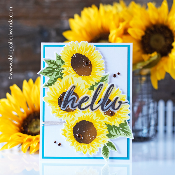 hero arts, hero arts monthly kit, monthly card kit, hero arts my monthly hero, september, sunflowers, stencils, sunflower stencil, cardmaking, handmade, diy, card ideas, card layouts, wanda guess, a blog called wanda
