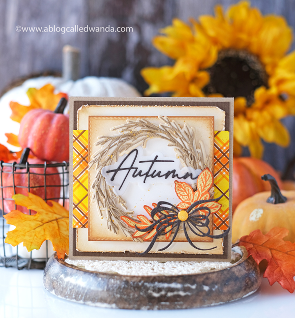the greetery, stamps and dies, the greetery stamps, the greetery leaf and blade, the greetery fall, new release, stamps, dies, stencils, plaid, tartan builder, rustic wreath, curio collection, leaves, gingham, fall card ideas, card layouts, greetery design team, wanda guess, a blog called wanda