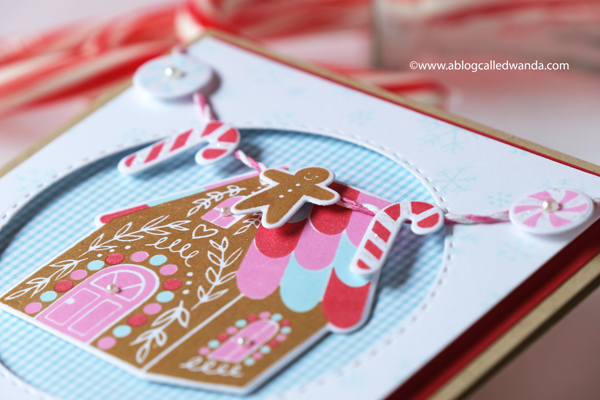 Hero Arts Winter Catalog blog hop. Winter 2020 catalog. Hero Arts layering gingerbread house. Christmas card. MISTI. Wanda Guess