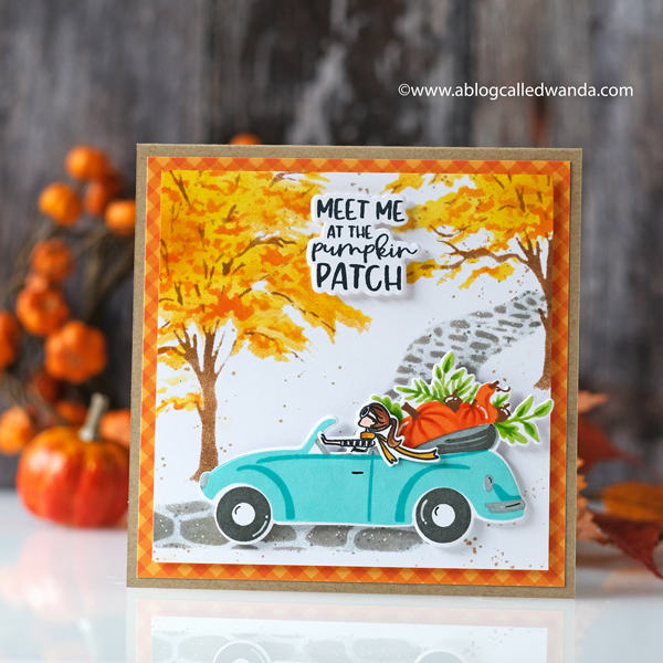 The Greetery new release fall 2020. Gathered Blessings release. Top Down Day Autumn, Fir and Foliage stencils, fall card, The Greetery design team. Wanda Guess.
