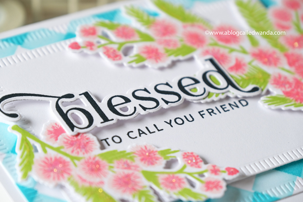 The Greetery new release fall 2020. Gathered Blessings release. Blessed blooms stamp set, square dance stencils, mimosa musings stamp set, layered stamping, card ideas, faith cards, crimped rectangles, The Greetery Design Team, Wanda Guess