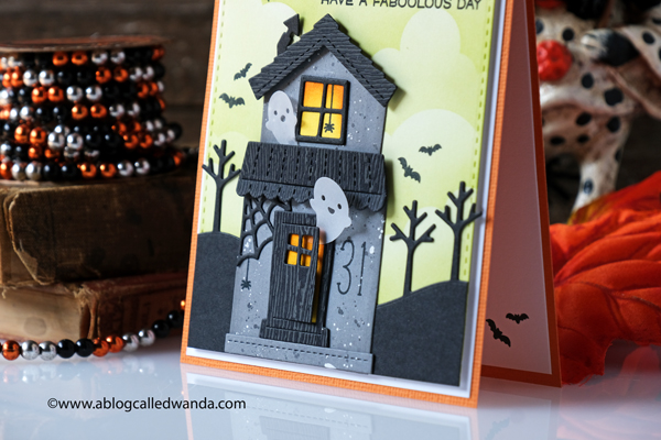 MFT rolling cloud stencil, Lawn Fawn Build A House Die, Lawn Fawn build a house halloween add on, Lawn Fawn stitched trees border, Lawn Fawn Violet ABC's, Lawn Fawn Oliver's stitched dies, Lawn Fawn Tiny Halloween, Distress inks, blender brushes, halloween card ideas, die cuts, cute halloween card, ghosts, handmade cards, cloud stencils, card ideas, wanda guess, a blog called wanda
