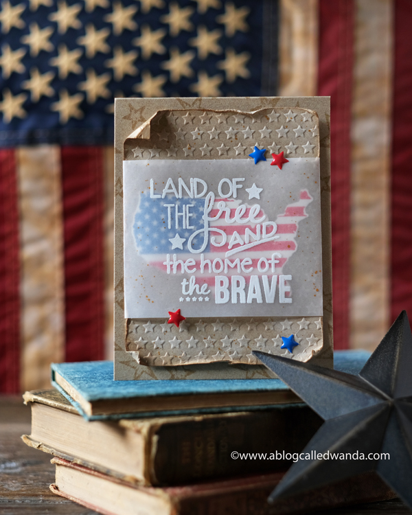 9-11 tribute, handmade card, patriotic card, us die cut, americana stamps, taylored expressions, red white and blue, 4th of july, card ideas, embossing folder, vellum, distress, gold water colors, wanda guess, a blog called wanda