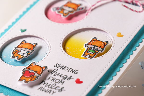 mama elephant stamps and dies, mama elephant fox agenda, copics, distress ink blending, clean and simple card design, crafty card, card layouts, hugs, foxes, wanda guess, a blog called wanda