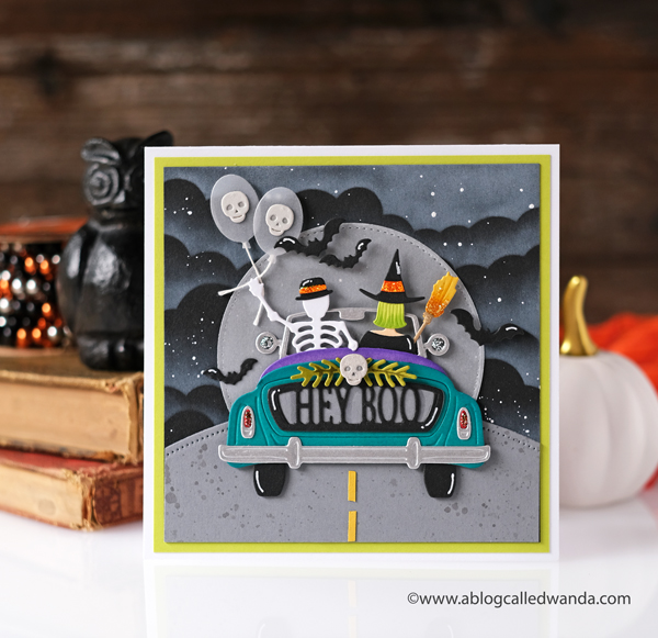 Spellbinders dies, New Spellbinders, Sunday Drive Dies, Sunday Drive Halloween Dies, Halloween Card, MFT cloud stencil, Handmade card, stamps and dies, Fun handmade halloween card, crafts, diy, wanda guess, A blog called wanda
