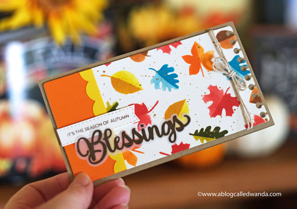 Photoplay Paper Say it with Stamps! Stamps and dies. Slimline card ideas. Fall Cards. Leaf Stencils. Blessings card. Thanksgiving, Autumn. DIY Crafts. Wanda Guess