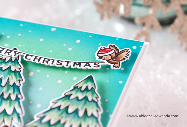 Hello Bluebird, Hello Bluebird stamps and dies, Christmas cards, Handmade Christmas cards, stamping, die cutting, Hello Bluebird Christmas Tree, copic markers, snowman, Hello Bluebird Pine Boughs dies, Hello Bluebird Cocoa Party stamps, Hello Bluebird Coffee Friends stamp set, Hello Bluebird Skating Together stamp set, Winter, DIY cards, Wanda Guess, A Blog Called Wanda
