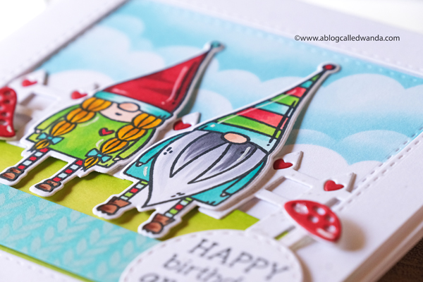 taylored expressions, taylored expressions card kit, like gnome other card kit, gnome stamps, dies, stamping, paper, copics, gnome cards, card layouts, card ideas, cloud stencils, handmade, birthday card, wanda guess, a blog called wanda, new from Taylored Expressions!