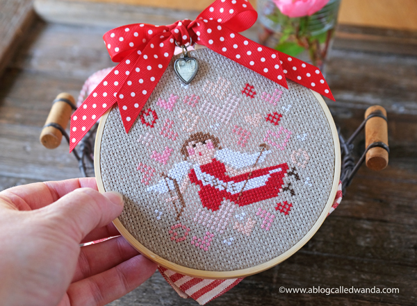 brenda gervais, with thy needle and thread, holiday hoopla, cupid, valentine's day, cross stitch, cross stiching finish, valentine's day crafts, cupid, handmade gifts, wanda guess, a blog called wanda