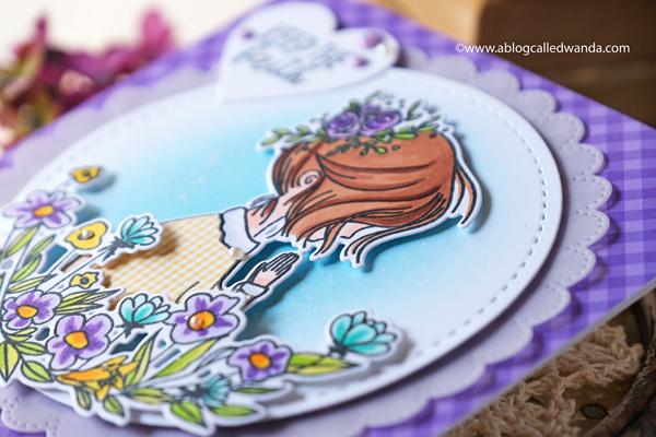 waffle flower, waffle flower new release, waffle flower hopeful, waffle flower stitchables, stitching die cuts, cross stitch on paper, praying girl, copics, distress ink blending, cross stitch cards, beehive, blog hop, wanda guess, a blog called wanda