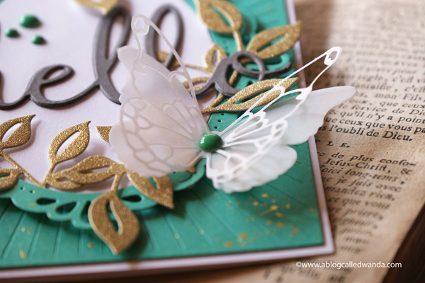handmade card ideas, pinkfresh studio, dies, stamps, card, pinkfresh studio ornate oval, curvy leaves, radiating background, hello card, memory box butterfly dies, wanda guess, a blog called wanda