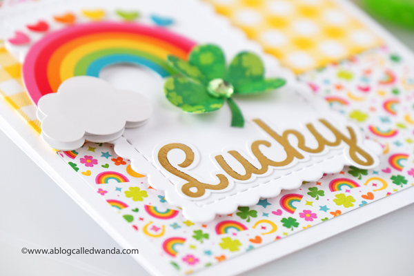 doodlebug designs, doodlebug paper, doodlebug lots o' luck, doodlebug gingham, st. patrick's day card, card ideas, shamrock from paper, lucky, handmade cards, rainbow card, card layout, wanda guess, a blog called wanda
