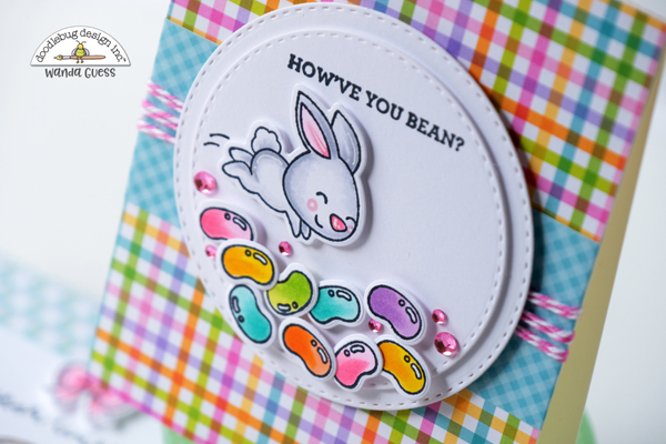 Doodlebug, Doodlebug stamps and dies, Doodlebug hippity hoppity, easter, easter cards, copics, plaid, gingham, spring, card layout ideas, Doodlebug papers, wanda guess, a blog called wanda