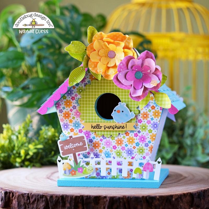 Doodlebug, Doodlebug paper, Doodlebug Fairy Garden Collection, Doodlebug stamps and dies, Decorate birdhouse with paper, diy birdhouse, wanda guess, a blog called wanda