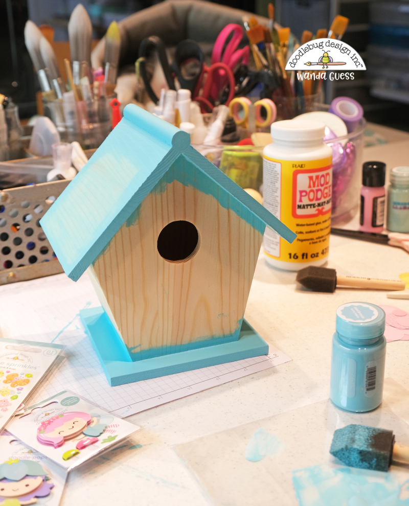 Doodlebug, Doodlebug paper, Doodlebug Fairy Garden Collection, Doodlebug stamps and dies, Decorate birdhouse with paper, diy birdhouse, wanda guess, a blog called wanda