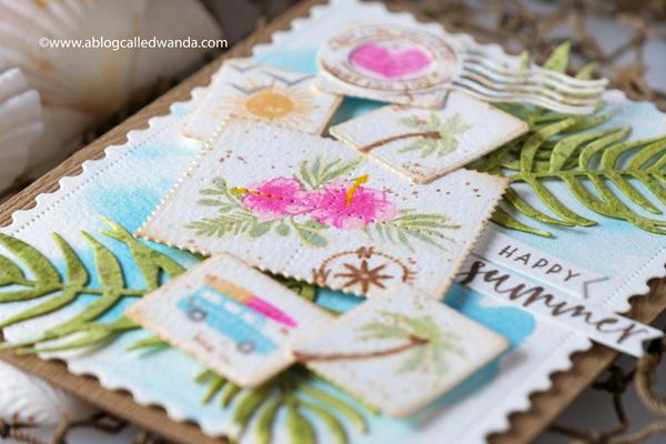 the greetery, the greetery stamps, the greetery dies, destination stamp set, palms, pretty postmarks, the greetery design team, tgif, hawaii, aloha, summer, card ideas, card layout, wanda guess for the greetery