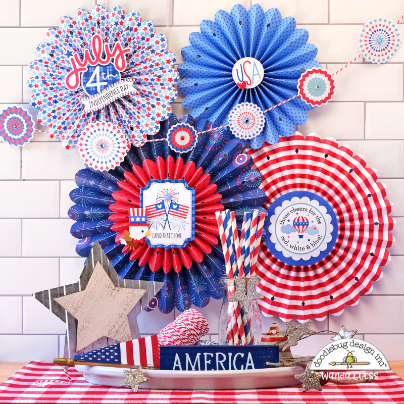 doodlebug, doodlebug papers, doodlebug land that i love collection, patriotic crafts, red white and blue, 4th of july decorations, 4th of july crafts, rosettes, sizzix medallion die, brenda walton dies, patriotic party ideas, 4th of july decor, paper rosettes, paper medallions, wanda guess, a blog called wanda
