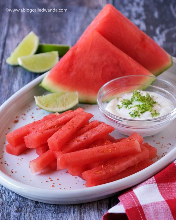watermelon, watermelon fries, watermelon recipes, coconut dip, lime dip, pinterest recipes, summer snacks, snacks, tajin, tajin ideas, pottery barn, healthy, super foods, easy healthy snacks, watermelon ideas, made from pinterest, wanda guess, a blog called wanda