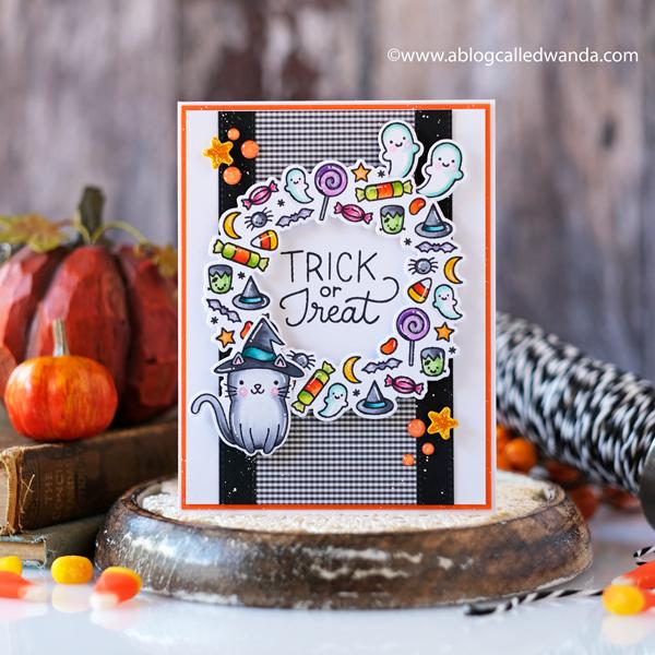 pretty pink posh, pretty pink posh blog hop, pretty pink posh new release, pretty pink posh halloween, boo stamp set, halloween wreath, halloween pals, copics, halloween card, make your own halloween card, treats, card ideas, markers, wanda guess, a blog called wanda