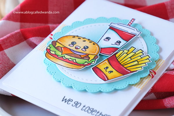 jaded blossom, jaded blossom stamps, jaded blossom kawaii foods, jaded blossom we go together, jaded blossom fresh faces, waffle flower, waffle flower lacy circles, stamping, copic markers, card ideas, burgers stamps, card layouts, wanda guess, a blog called wanda