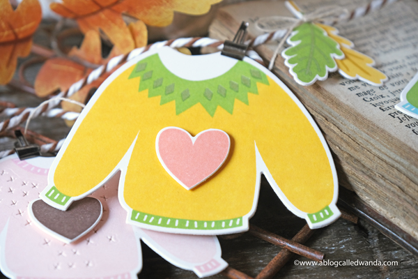 pigment craft co, pigment stamps and dies, pigment sweater weather, pigment latte art, sweater garland, paper garland. autumn card, fall card, sweater stamps and dies, pigment fall wreath stamp set, make your own garland, fall home decor, wanda guess, a blog called wanda