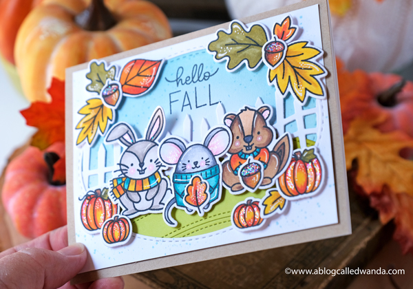 pretty pink posh, pretty pink posh new release, Fall, Autumn, Halloween, Pretty Pink Posh Cozy Fall Critters, Pretty Pink Posh Fall Corners, Pretty Pink Posh Falling Leaves, Pretty Pink Posh Spooky Fence, Copic Coloring, leaves, cute animals, sweaters, card ideas, fall cards, blog hop, wanda guess, a blog called wanda, copic coloring tips