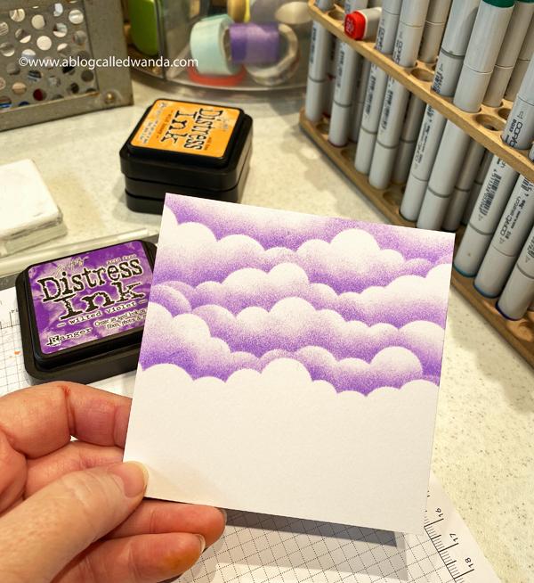 hello bluebird, hello bluebird stamps, halloween, Fall, ink blending, copic markers, halloween card, card ideas, handmade, mft cloud stencil, ink blended clouds, boo crew, little haunters, gingham, wanda guess, a blog called wanda