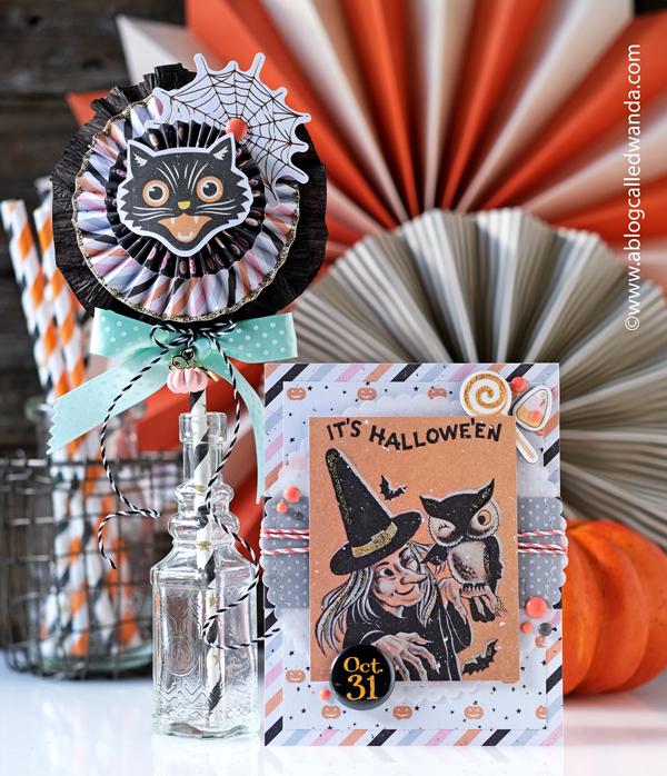halloween, prima marketing, prima thirty one, thirty one collection, halloween card, halloween rosette, vintage paper rosette, paper medallion, vintage halloween, make your own halloween card, card, diy, crafty, card ideas, vintage halloween card, wanda guess, prima marketing, a blog called wanda