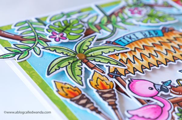 sunny studio stamps, stamps, dies, cards, handmade, copics, tiki, cupcake die, hamster stamp set, sunny studio stamps Tiki Time, Sunny Studio big cupcake die, Sunny Studio Happy Hamsters, handmade cards, card layouts, tropical cards, birthday cards, wanda guess, a blog called wanda