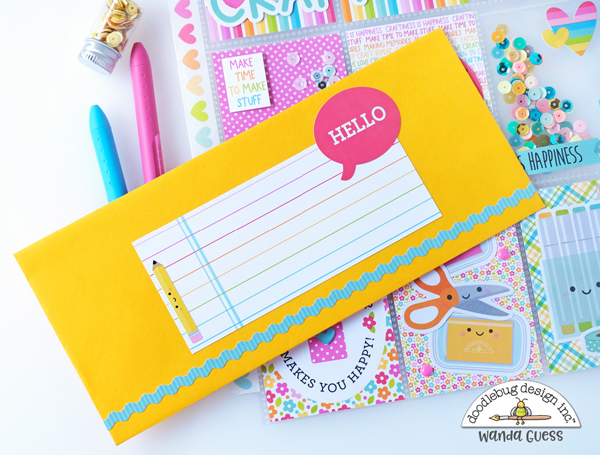 doodlebug, cute and crafty collection, doodlebug cute and crafty, pocket letter, fuse tool, make a pocket letter, crafting theme, card ideas, diy, stamping, scrapbooking, doodlebug design team, sequins, washi tape, wanda guess, a blog called wanda