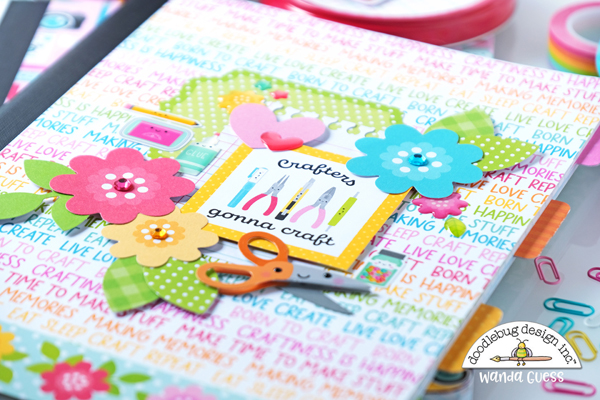 doodlebug, doodlebug papers, doodlebug cute and crafty, collection, stickers, paper, doodlepops, composition books, cover your own composition books, handmade, diy, papercrafts, crafts for kids, wanda guess, a blog called wanda