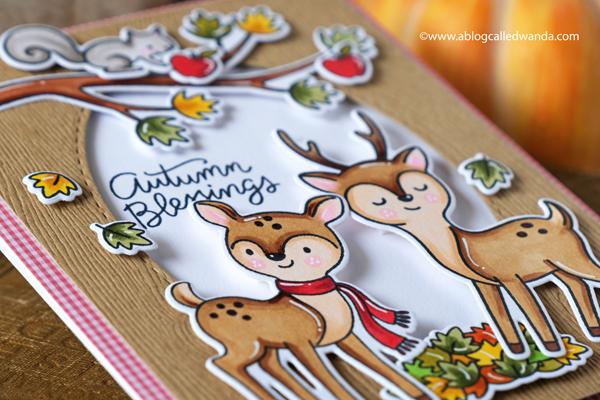 hello bluebird stamps, hello bluebird stamp sets, Fall Buddies, Autumn Gatherings, Deer Friend, Fall cards, autumn greetings, make your own fall card, copics, copic coloring, deer, diy, handmade card, card layouts, wanda guess, a blog called wanda