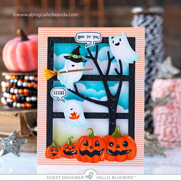 hello bluebird stamps, hello bluebird dies, hello bluebird new release, Hello bluebird halloween card, halloween, diy, make your own cards, copics, balloons, card ideas, hello bluebird cute stamps, ghosts, pumpkins, wanda guess, a blog called wanda