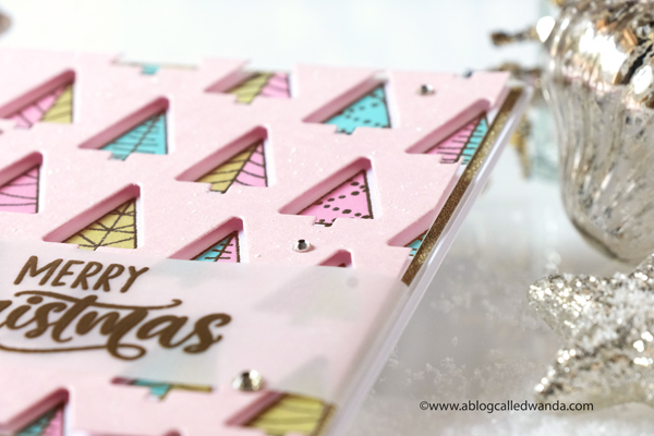 taylored expressions, taylored expressions stamps and dies, christmas, trees, trendy trees, christmas card, embossing, oxide inks, make your own christmas card, retro christmas, diy, stamping, die cutting, pink christmas, vellum, wanda guess, a blog called wanda